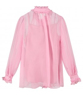 Pink shirt for girl with bow