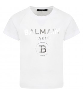 White t-shirt for kids with double logo