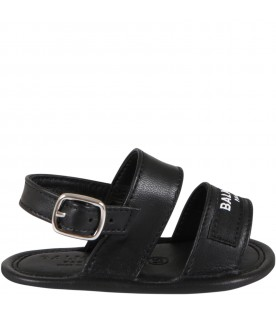 Black sandals for baby kids with logo