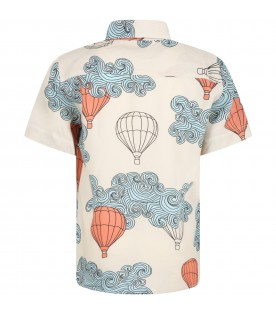 Beige shirt for kids with hot-air ballons