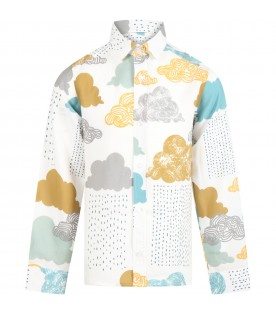 White shirt for kids with clouds