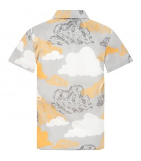 Grey shirt for kids with clouds