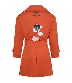 Orange trench coat for kids with hot air balloon
