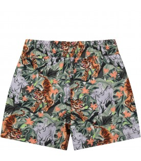 Multicolor swim short for baby boy with animals