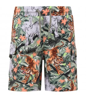 Multicolor swim short for boy with animals