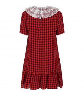 Multicolor dress for girl with red logo