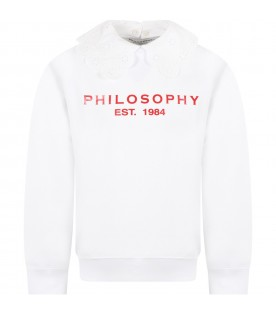 White sweatshirt for girl wih red logo