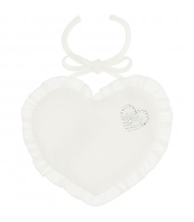 White bib for baby girl with heart