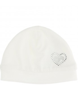 White hat for baby girl with heart