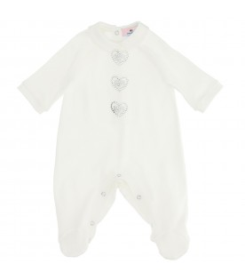 White jumpsuit for baby girl with hearts