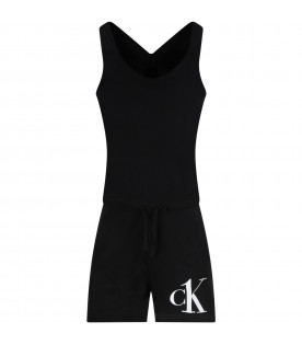 Black overall for girl with logo