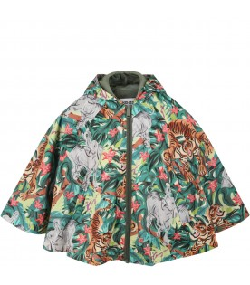 Multicolor poncho for girl with animals