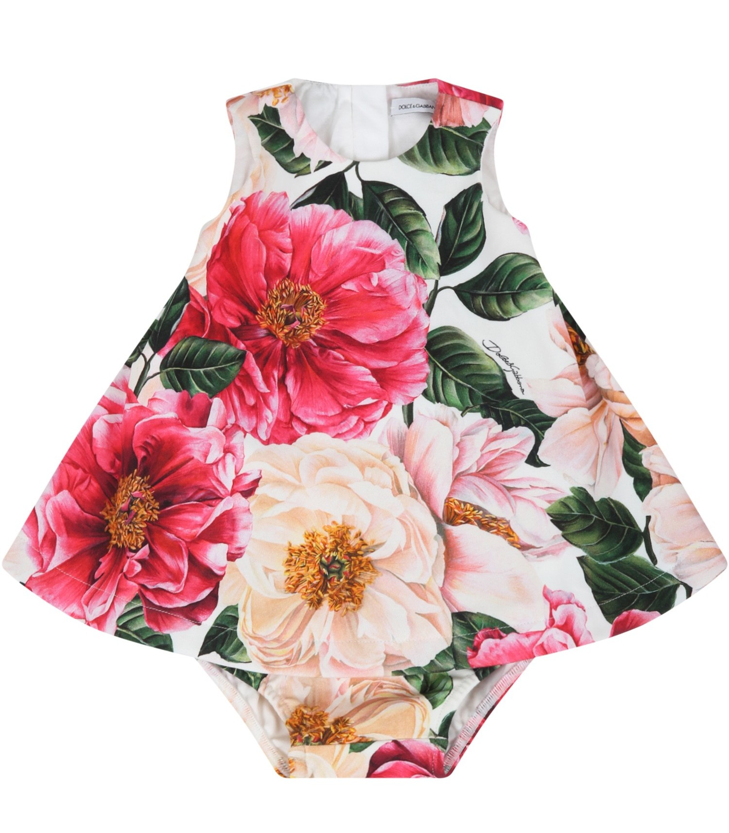 Dolce & Gabbana Kids White dress for babygirl with camellias