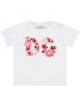 White T-shirt for baby girl with flowers