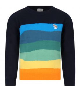 Blue sweater for boy with stripes