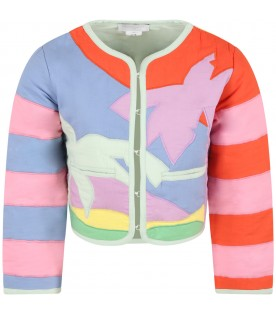 Multicolor jacket for girl with palms