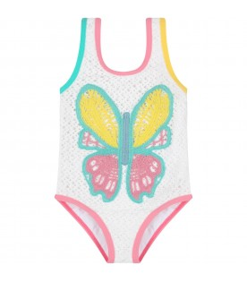 White swimsuit for girl with butterfly