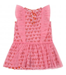 Pink dress for baby girl with hearts