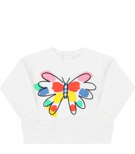 White sweatshirt for baby girl with butterfly