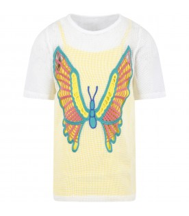 Multicolor dress for girl with butterfly
