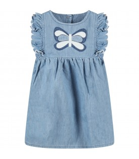 Light blue dress for baby girl with butterfly