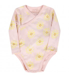 Pink set for baby girl with sun