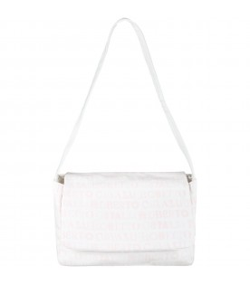 White changing bag for baby girl with logos
