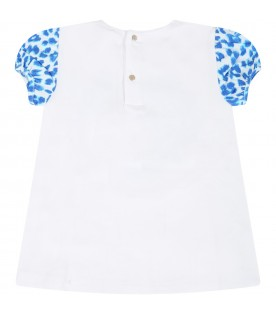 White t-shirt for baby girl with logo