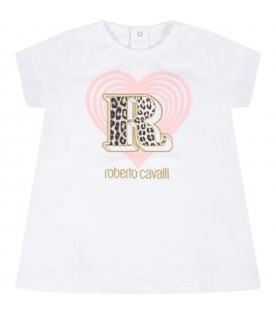 White t-shirt for baby girl with heart