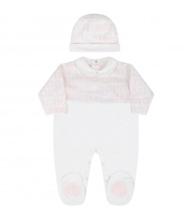 White suit for baby girl with logos