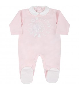 Pink suit for baby girl with logo