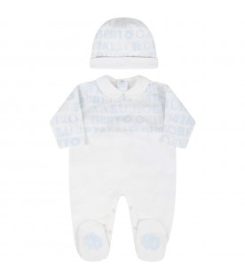 White suit for baby boy with logos