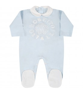 Light blue suit for baby boy with logo