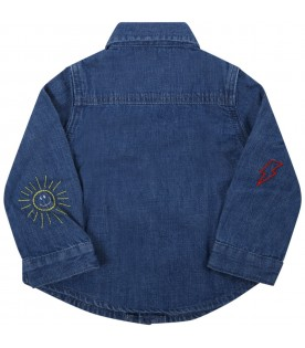 Blue shirt for baby kids with suns