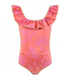 Pink swimsuit for girl with flowers