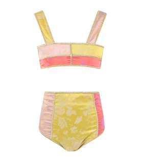 Multicolor bikini for girl with flowers