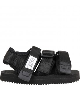 """Black """"Kisee """" sandals for kids with logo"""