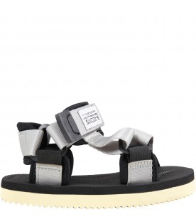"""Gray """"Depa"""" sandals for kids with logo"""