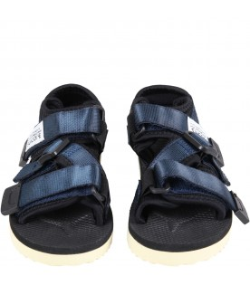 """Blue """"Kisee """" sandals for kids with logo"""