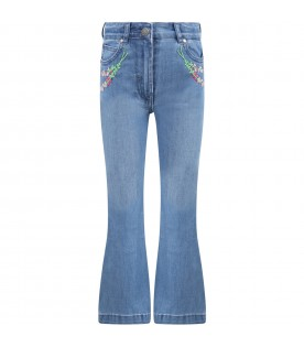 Blue jeans for girl with flowers