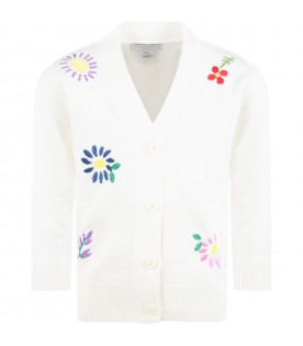 Ivory cardigan for kids with flowers