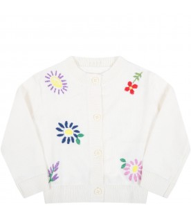 Ivory cardigan for babykids with flowers