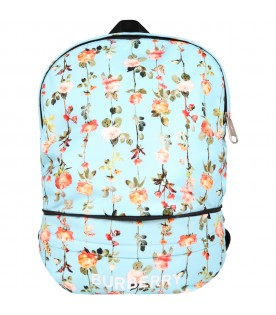 Light blue bum bag for girl with flowers