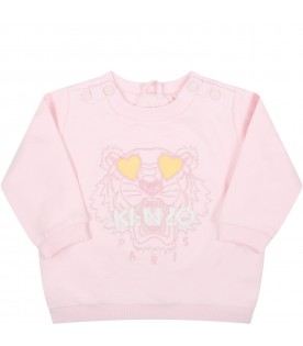 Pink sweatshirt for baby girl with iconic tiger