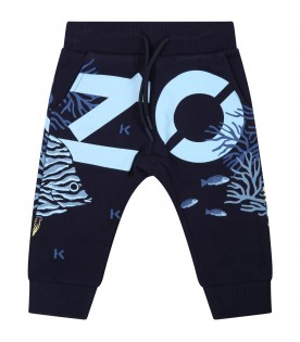 Blue sweatpants for baby boy with logo