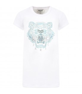 White dress for girl with iconic tiger and logo
