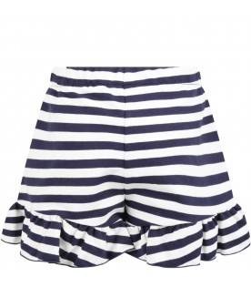 Striped short for girl with logo