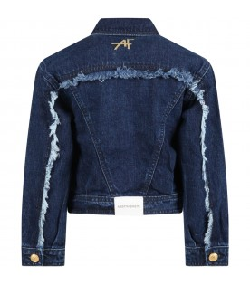 Blue jacket for girl with logo