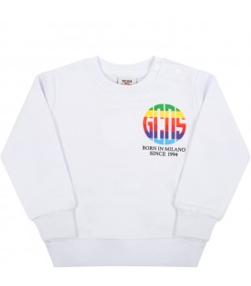 White sweatshirt for baby kids with multicolored logo