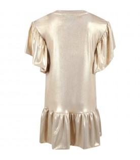 Gold dress for girl with logo
